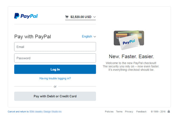 Login with your existing PayPal account