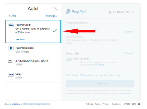 select PayPal Credit as your payment method
