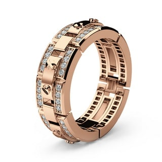 REX rose Gold Mens Wedding Band with Diamonds