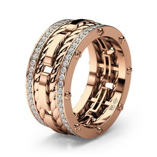 ROPES Gold Mens Wedding Band with Diamonds