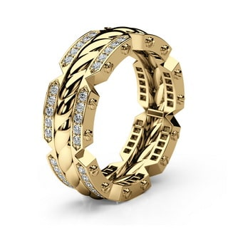CRISSON Gold Mens Wedding Band with Diamonds