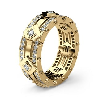 MOSS Gold Mens Wedding Band with Diamonds