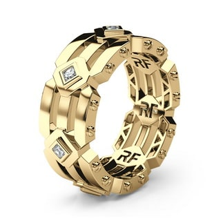 ARGONAUT Gold Mens Wedding Band with Diamonds