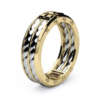 SAN LORENZO Mens Gold Wedding Band with black Diamonds