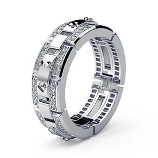 REX white Gold Mens Wedding Band with Diamonds