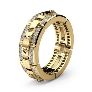 REX yellow Gold Mens Wedding Band with Diamonds