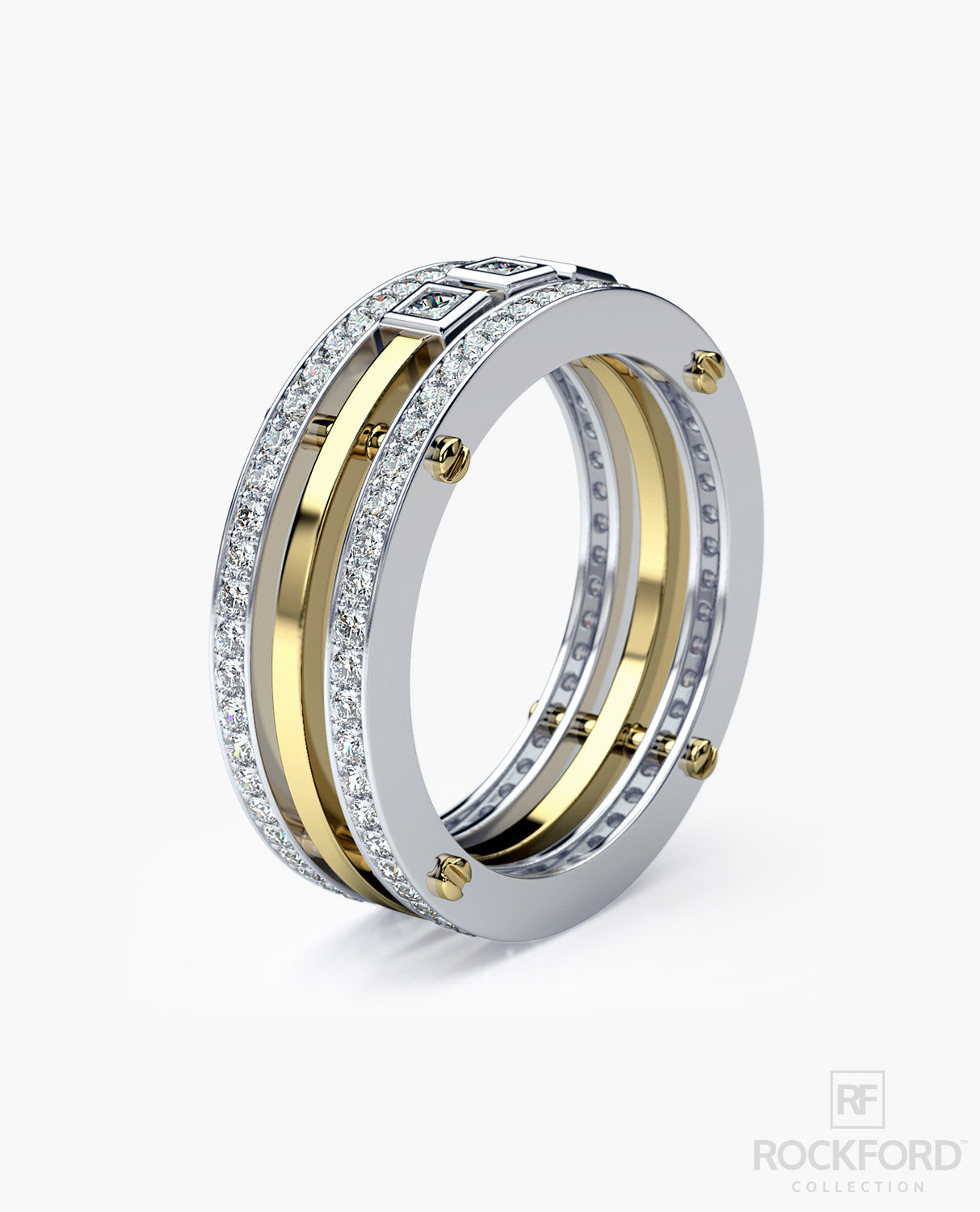 Brewer Mens Twotone Gold Wedding Band With 115 Ct Diamonds