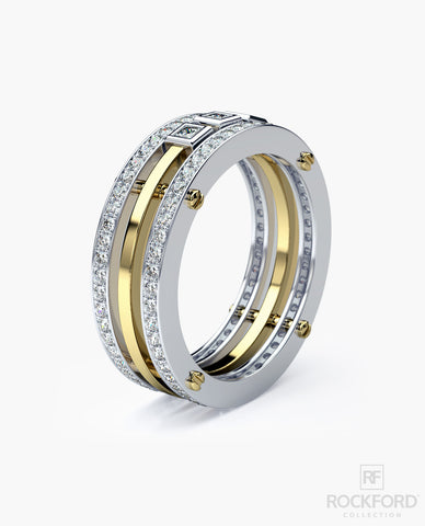 BREWER Mens Two-Tone Gold Wedding Band with 1.15 ct Diamonds