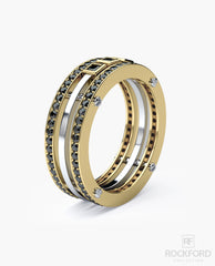BREWER Mens Two-Tone Gold Wedding Band with Black Diamonds