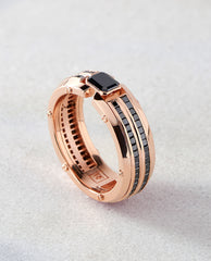 CLEBURNE Mens Gold Wedding Band with Black Diamonds