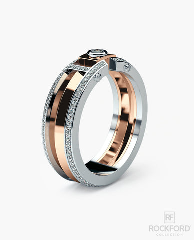 CLEBURNE Mens Two-Tone Gold Wedding Band with 0.40 ct Diamonds