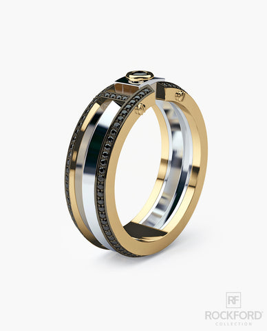 CLEBURNE Mens Two-Tone Gold Wedding Band with 0.40 ct Black Diamonds