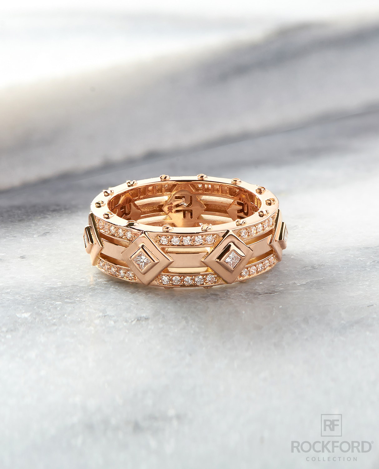 MOSS Mens Gold Wedding Band with 1.00ct Diamonds