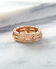 MOSS Mens Gold Wedding Band with Diamonds