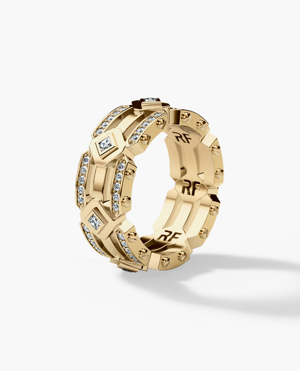 ARGONAUT Mens Gold Wedding Band with Diamonds