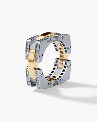 BINGHAM Mens Two-Tone Gold Wedding Band with Diamonds
