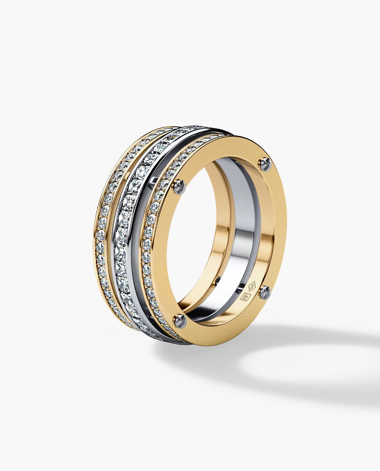 BREWER Mens Two-Tone Gold Wedding Band with Diamonds