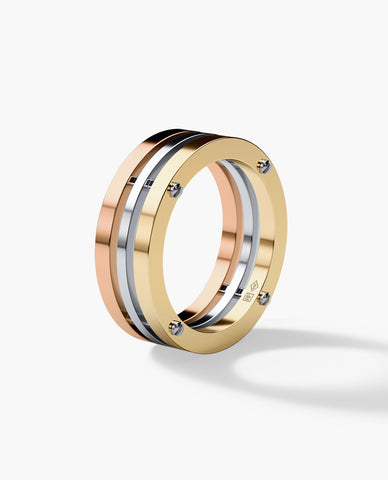 BREWER Mens Three-Tone Gold Wedding Band