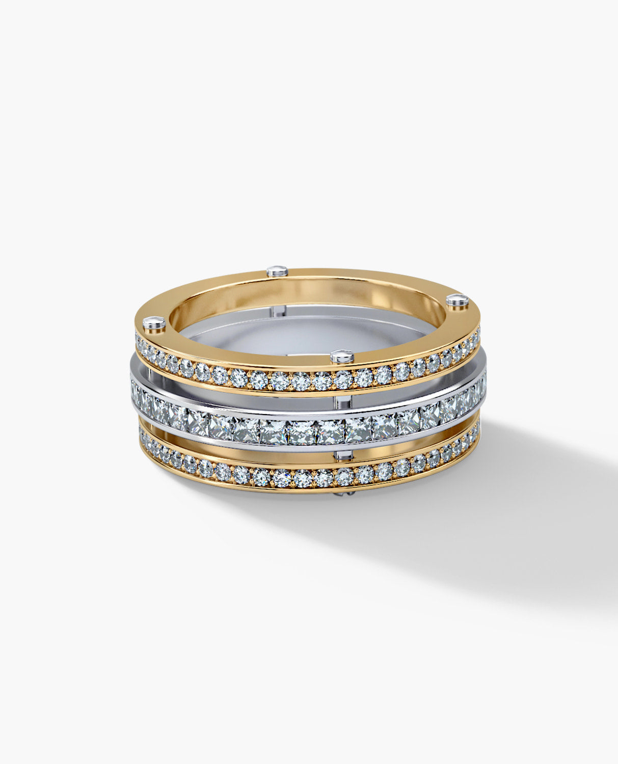 BREWER Mens Two-Tone Gold Wedding Band with 3.10ct Diamonds