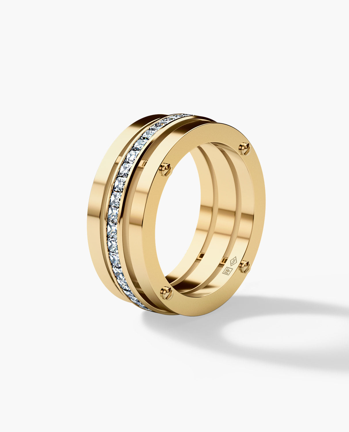 BREWER Mens Gold Wedding Band with Diamonds
