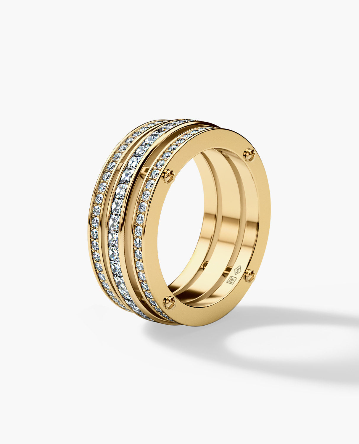 BREWER Mens Gold Wedding Band with 3.10ct Diamonds