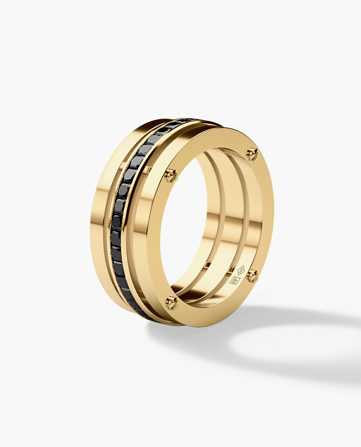 BREWER Mens Gold Wedding Band with Black Diamonds