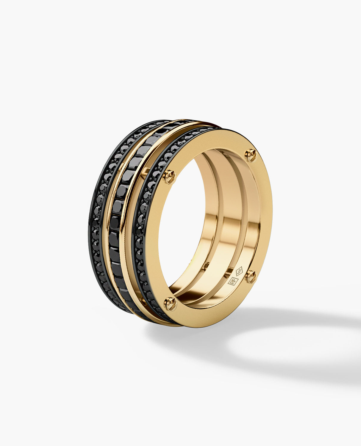 BREWER Mens Gold Wedding Band with 3.10ct Black Diamonds