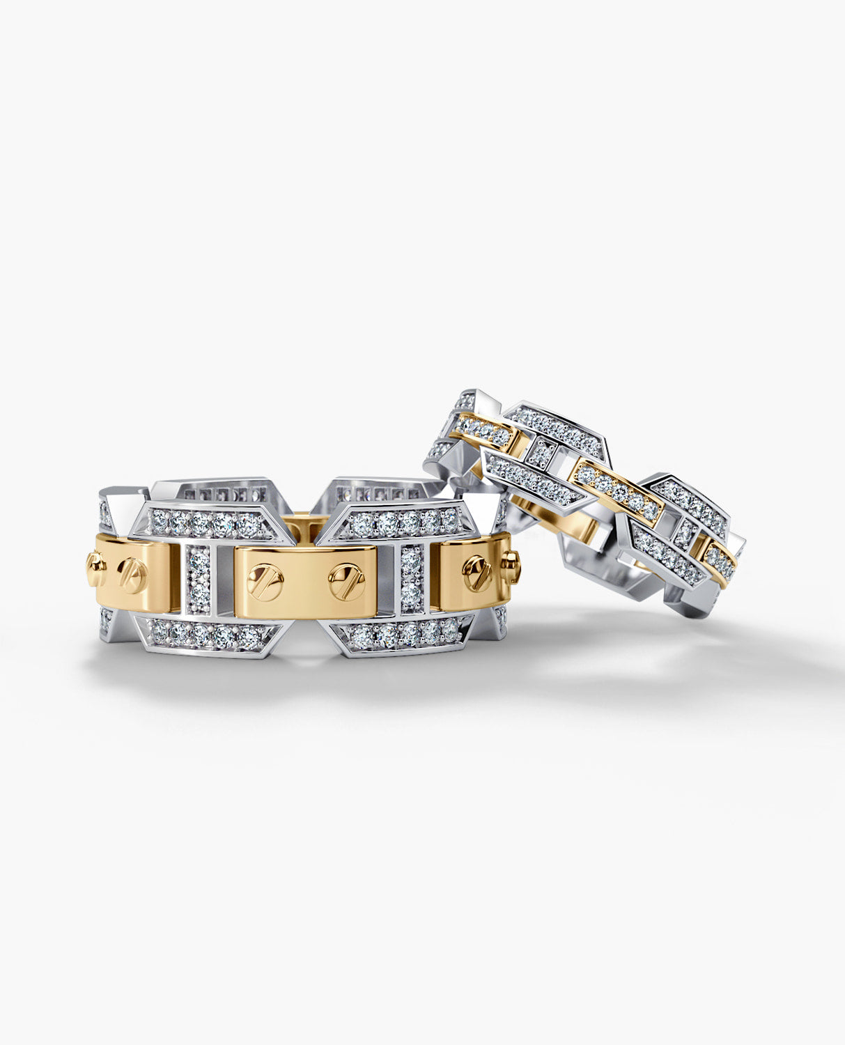BRIGGS Two-Tone Gold Matching Diamond Wedding Band Set