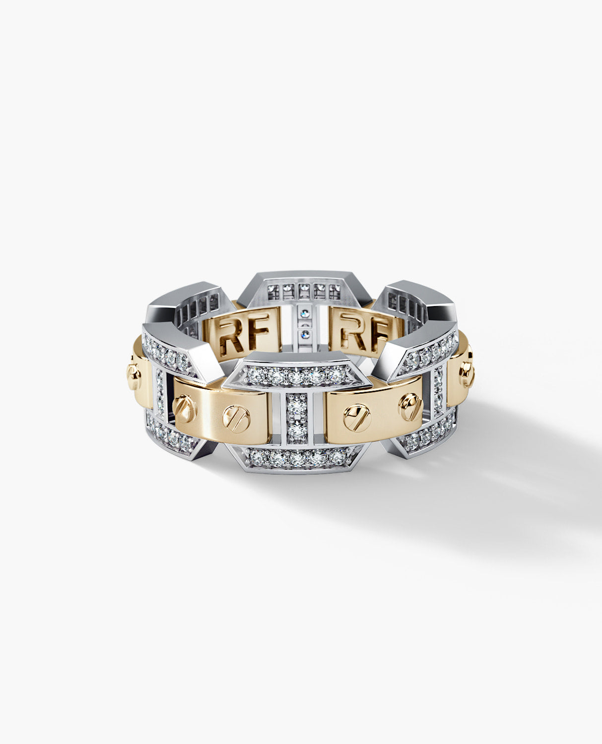 BRIGGS Mens Two-Tone Gold Wedding Band with Diamonds