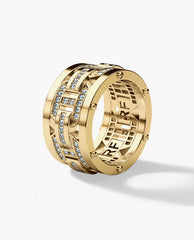 BRIGGS Mens Gold Wedding Band with 1.00ct Diamonds - Wide Version