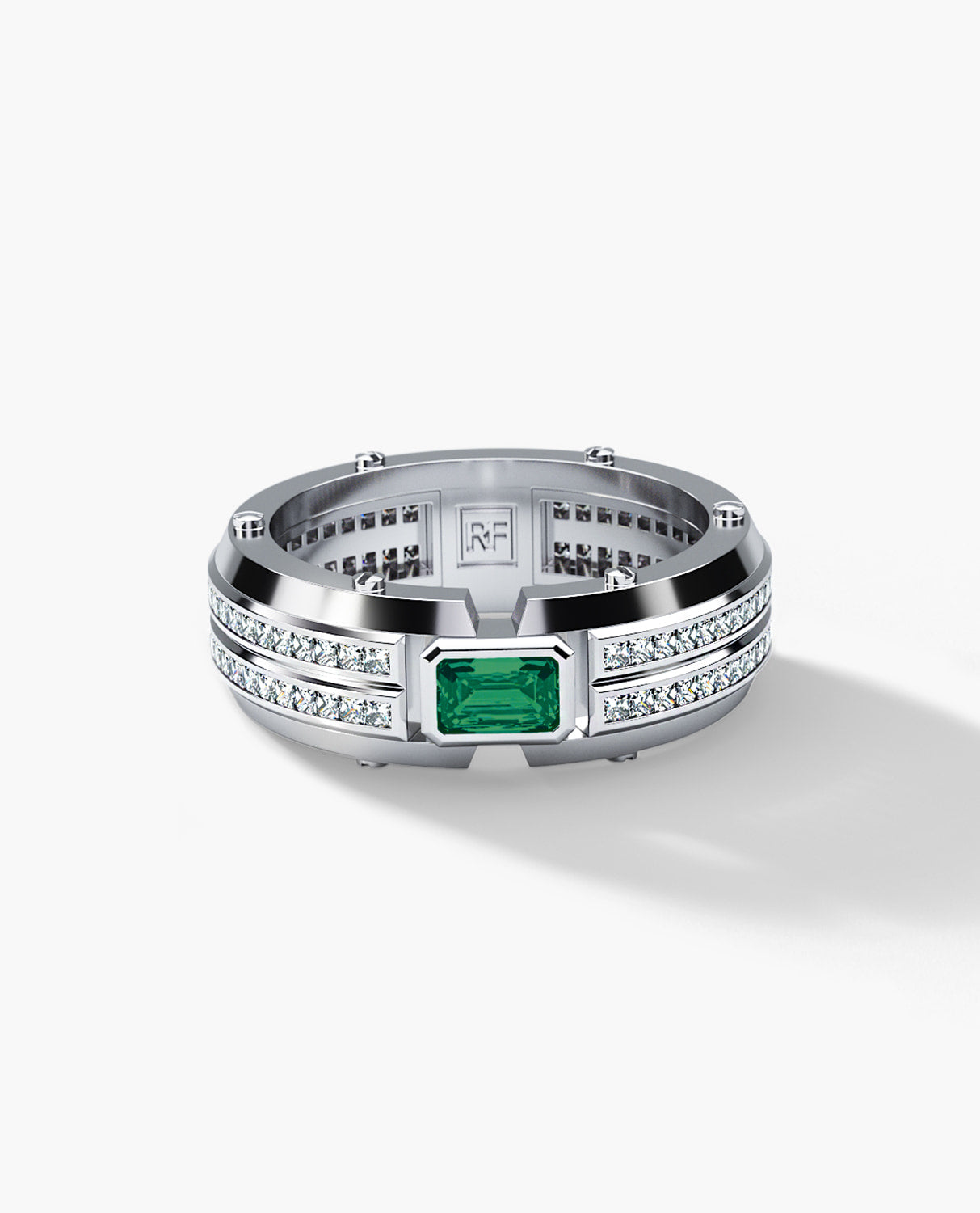 CLEBURNE Mens Gold Wedding Band with Emerald