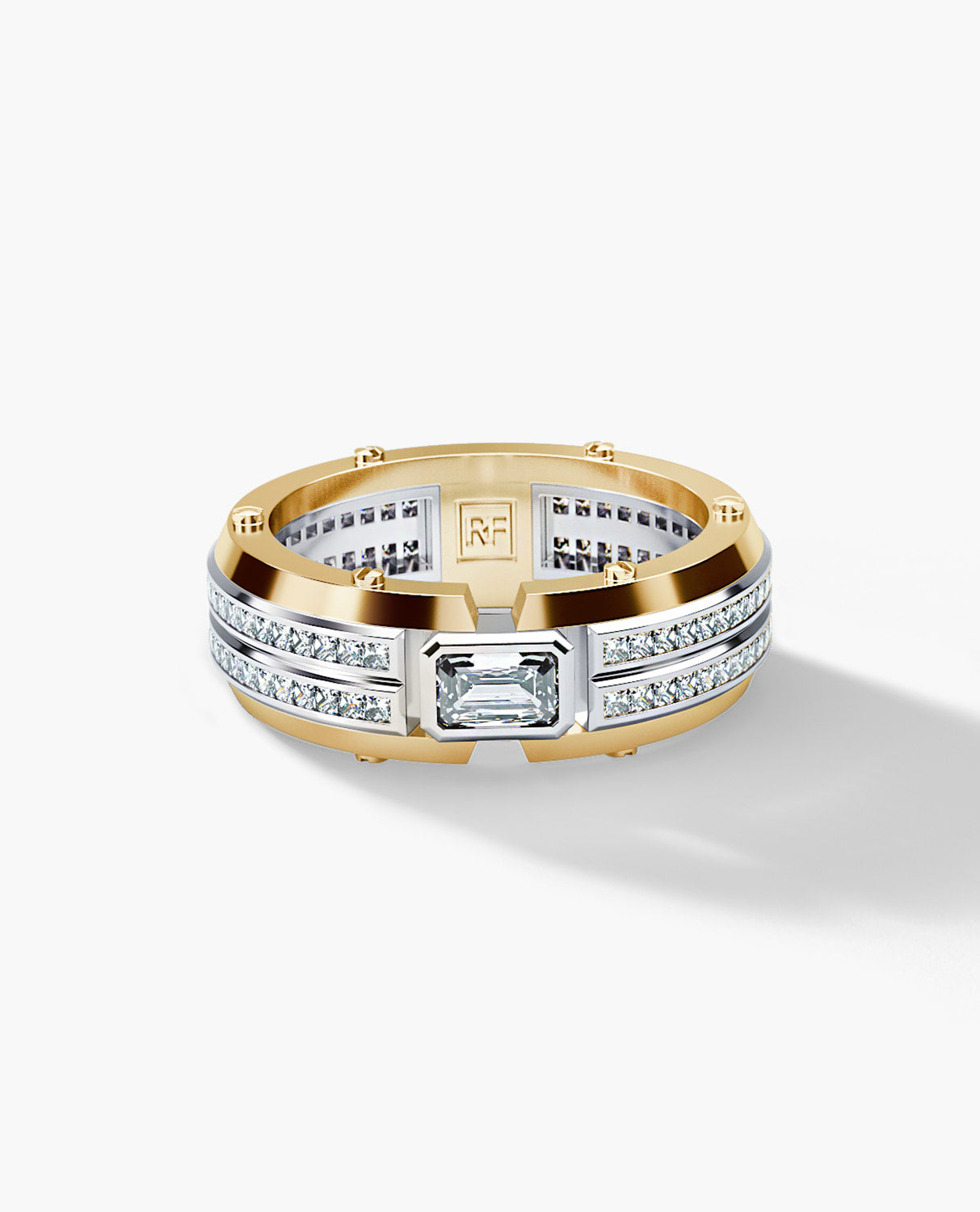 CLEBURNE Mens Two-Tone Gold Wedding Band with 1.95ct Diamonds