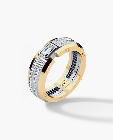 CLEBURNE Mens Two-Tone Gold Wedding Band with Diamonds