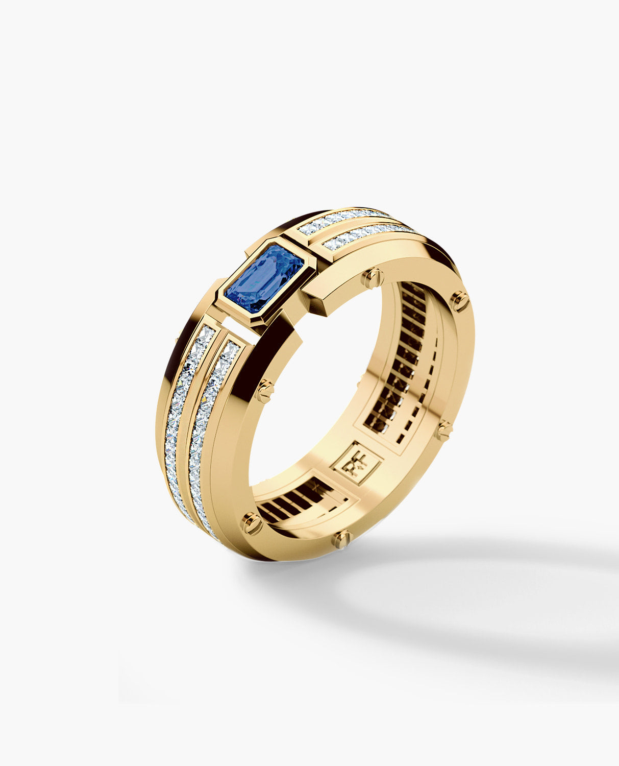 CLEBURNE Mens Gold Wedding Band with Sapphire