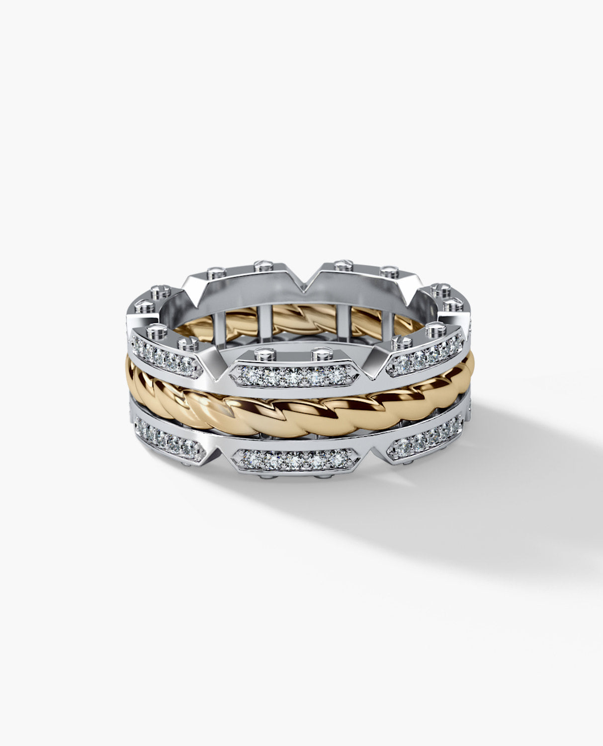 CRISSON Mens Two-Tone Gold Wedding Band with Diamonds