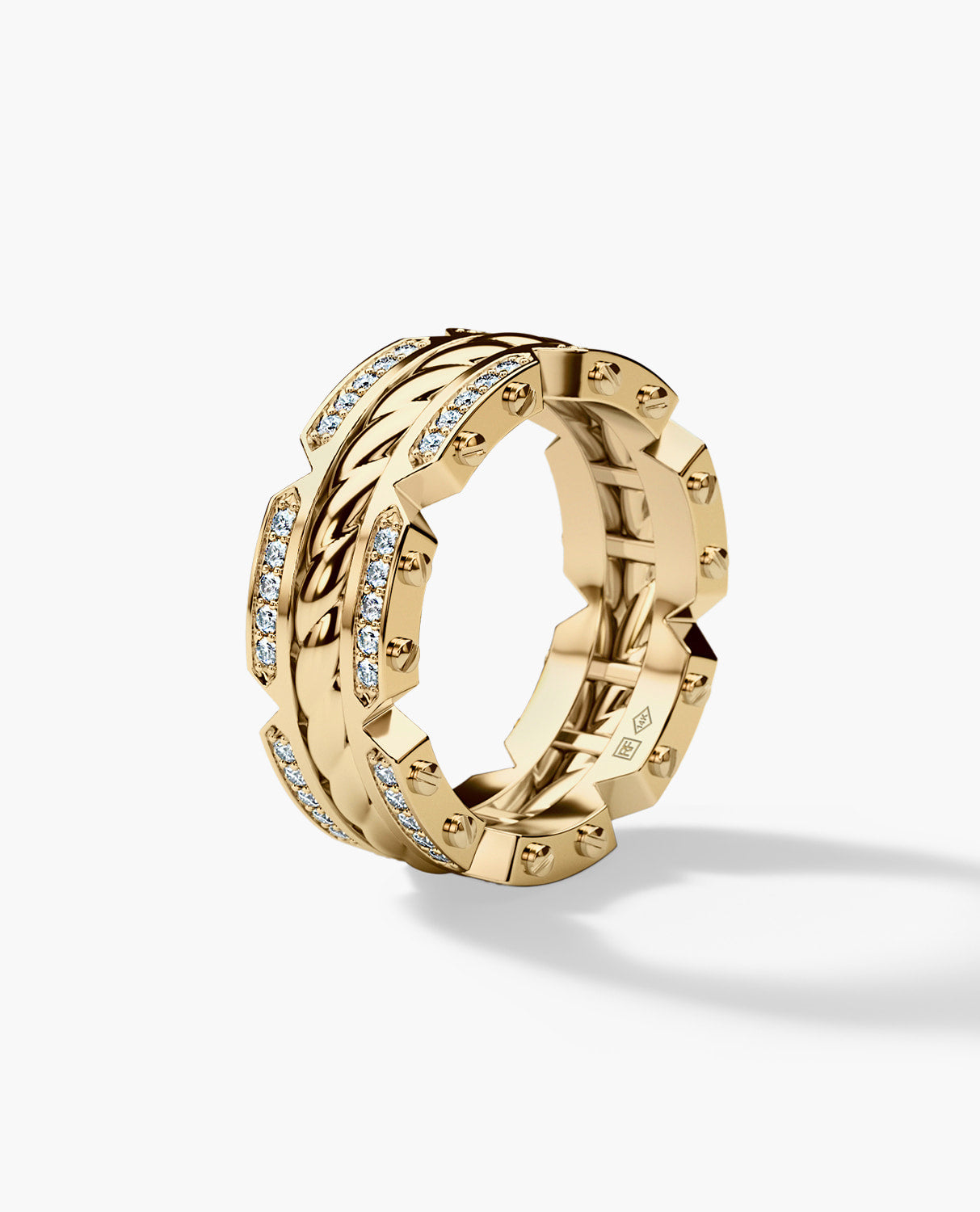 CRISSON Mens Gold Wedding Band with Diamonds