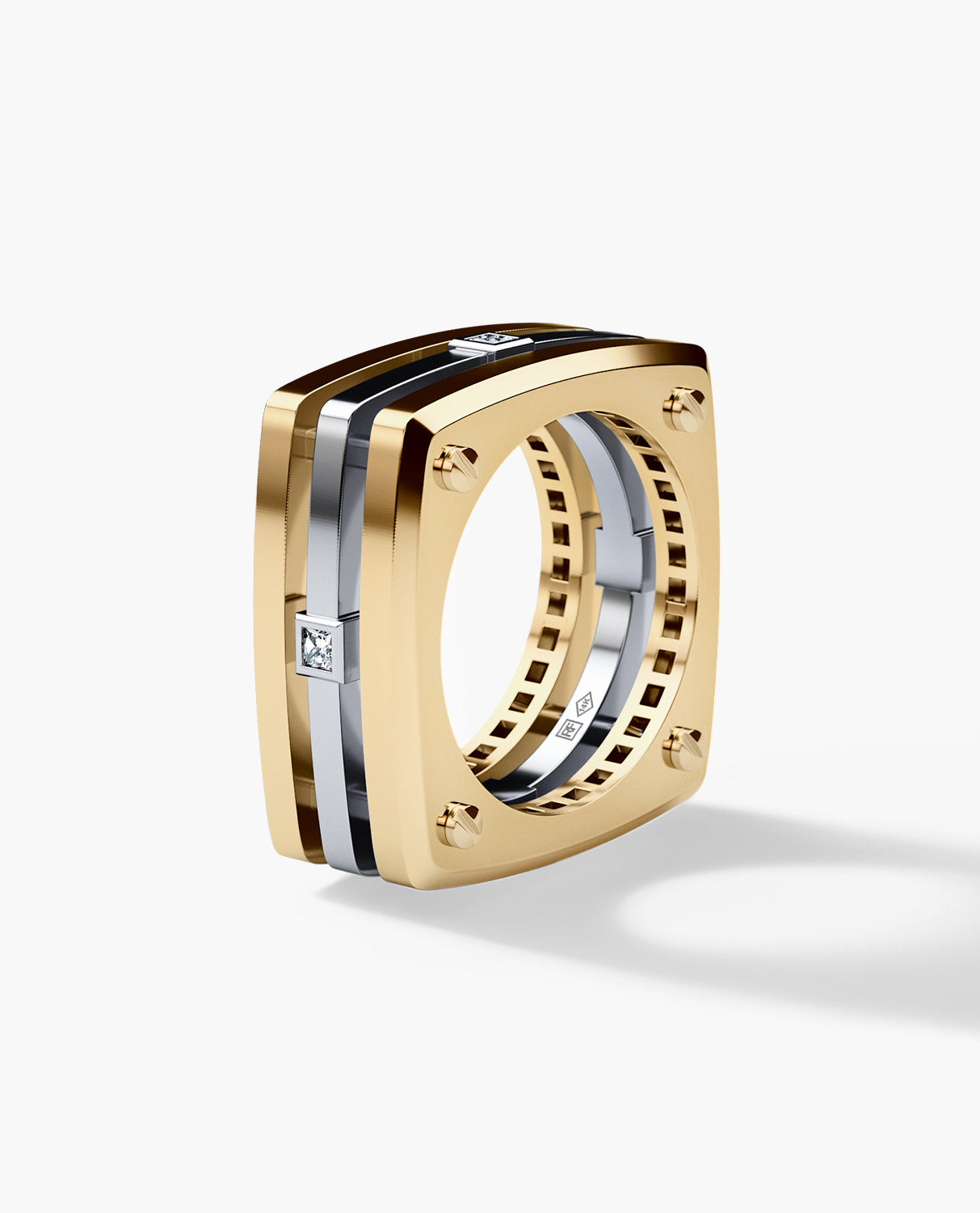 FORT KNOX Mens Two-Tone Gold Wedding Band with Diamonds