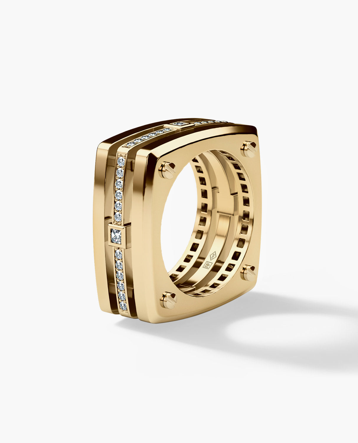 FORT KNOX Mens Gold Wedding Band with Diamonds