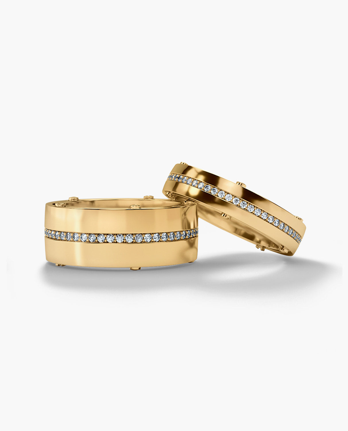 FRANKLIN Gold Matching Diamond Wedding Band Set