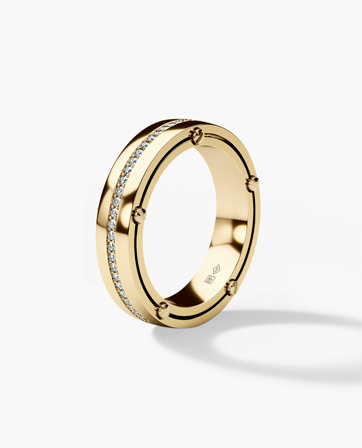 FRANKLIN Gold Mens Wedding Band with Diamonds