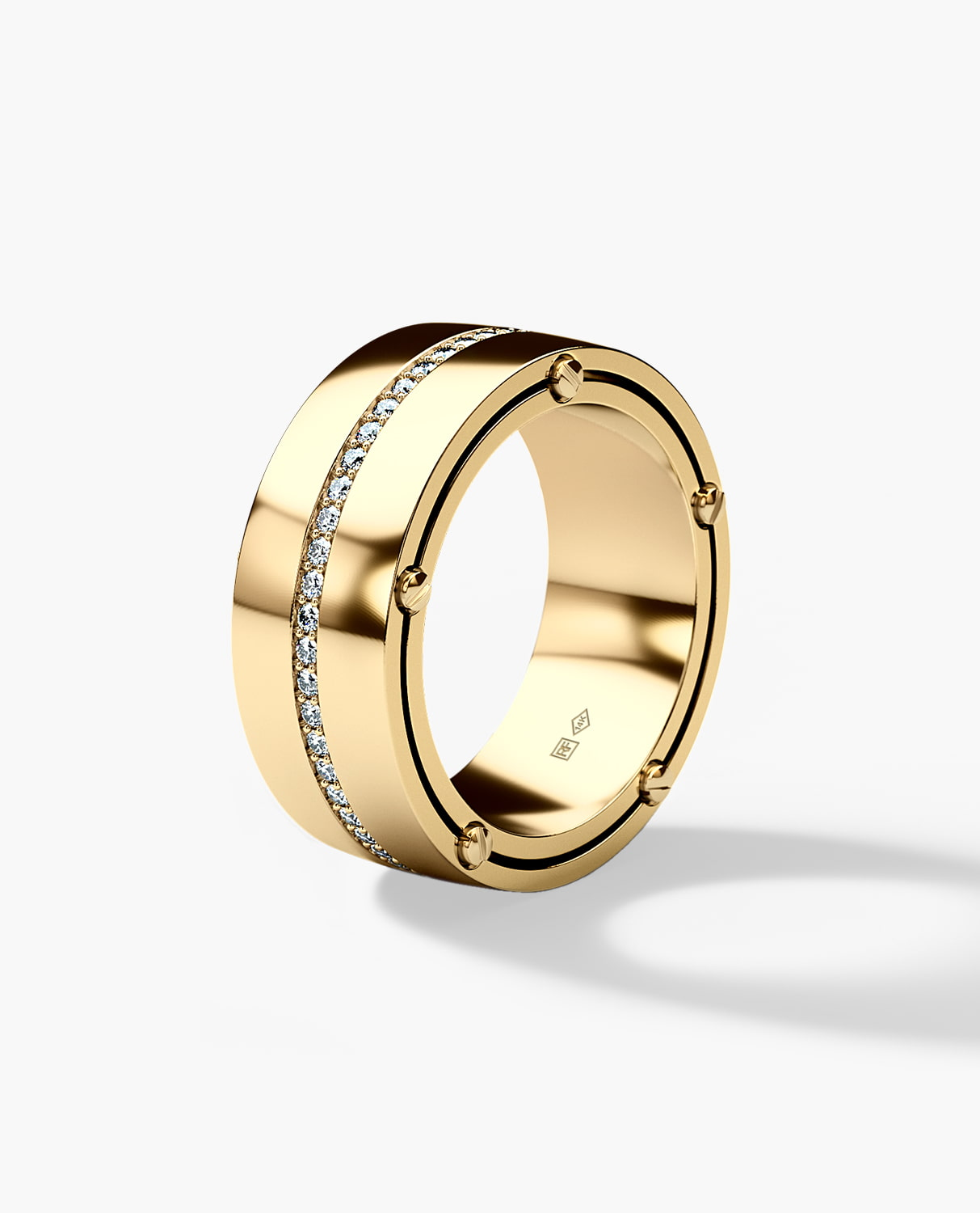 FRANKLIN Comfort Fit Mens Gold Wedding Band with 0.50ct Diamonds - Wide Version