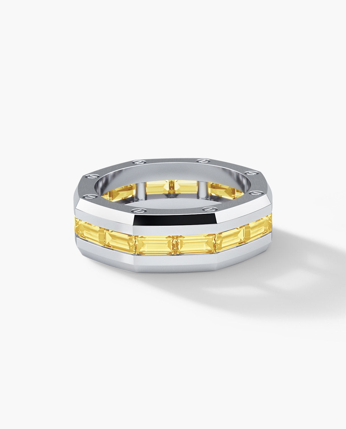 GRANT Mens Gold Wedding Band with Yellow Diamonds