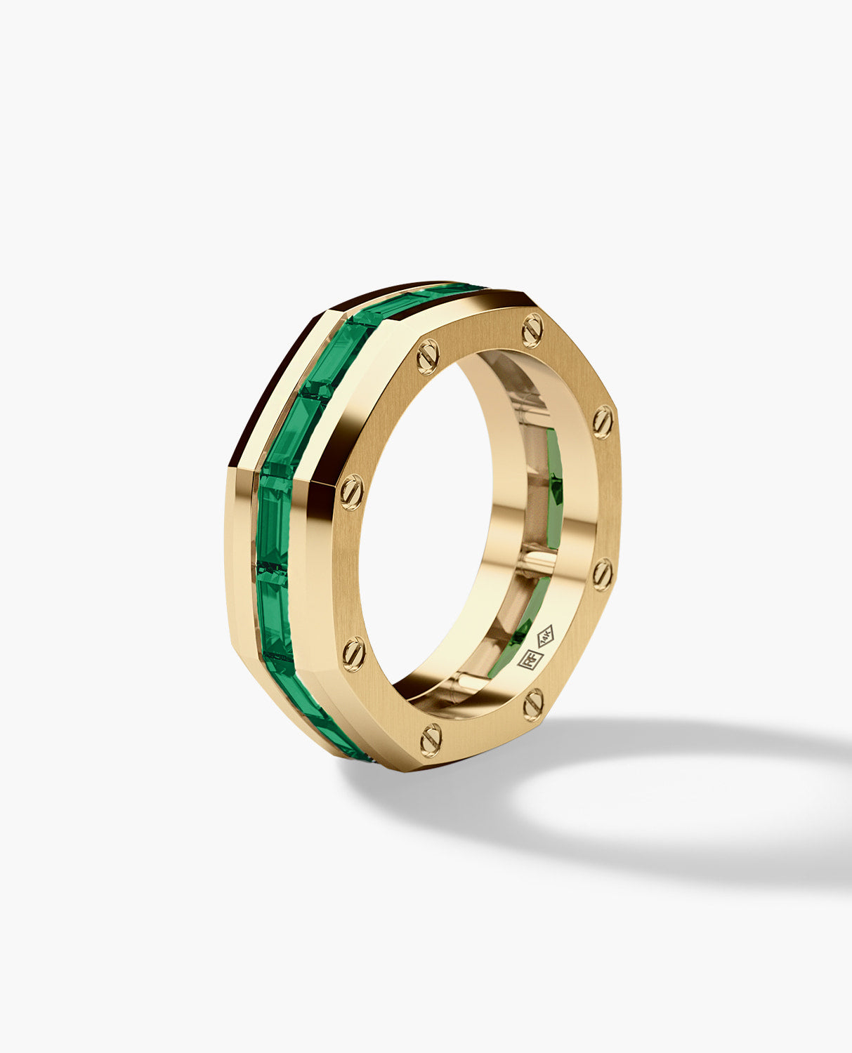 GRANT Mens Gold Wedding Band with Emeralds