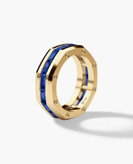 GRANT Mens Gold Wedding Band with Sapphires
