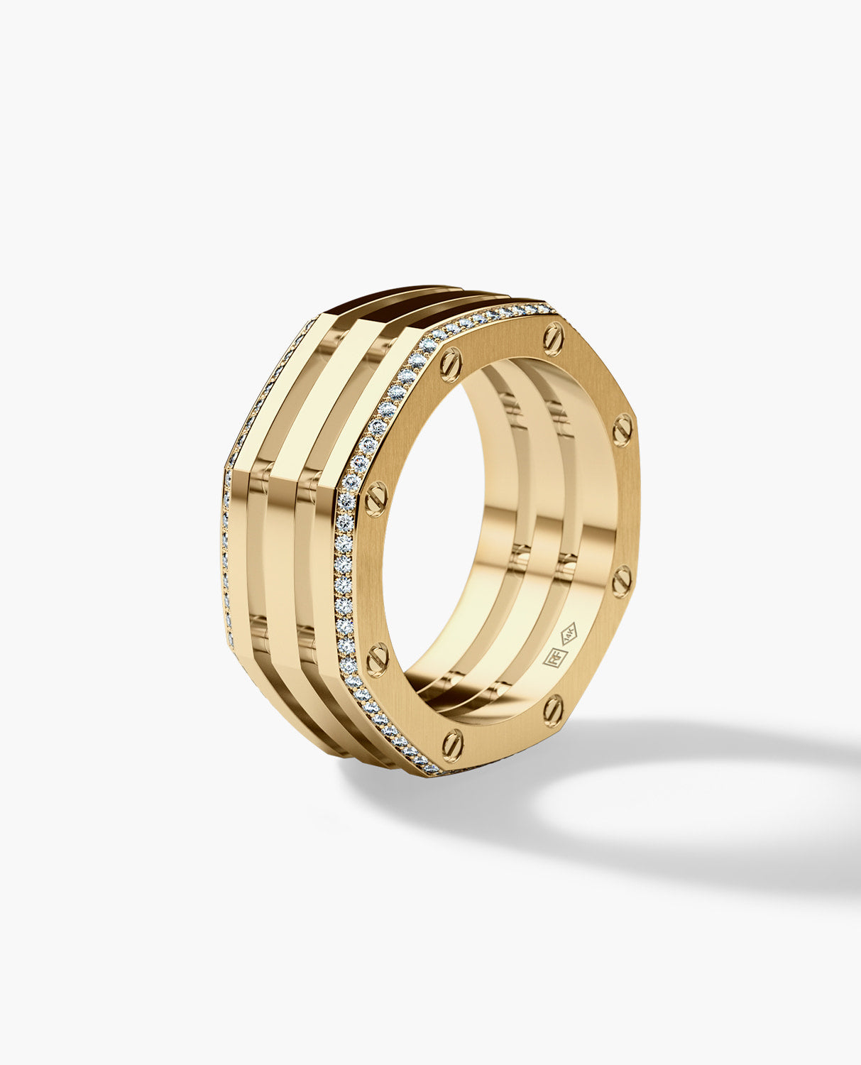 GRANT Mens Gold Wedding Band with Diamonds