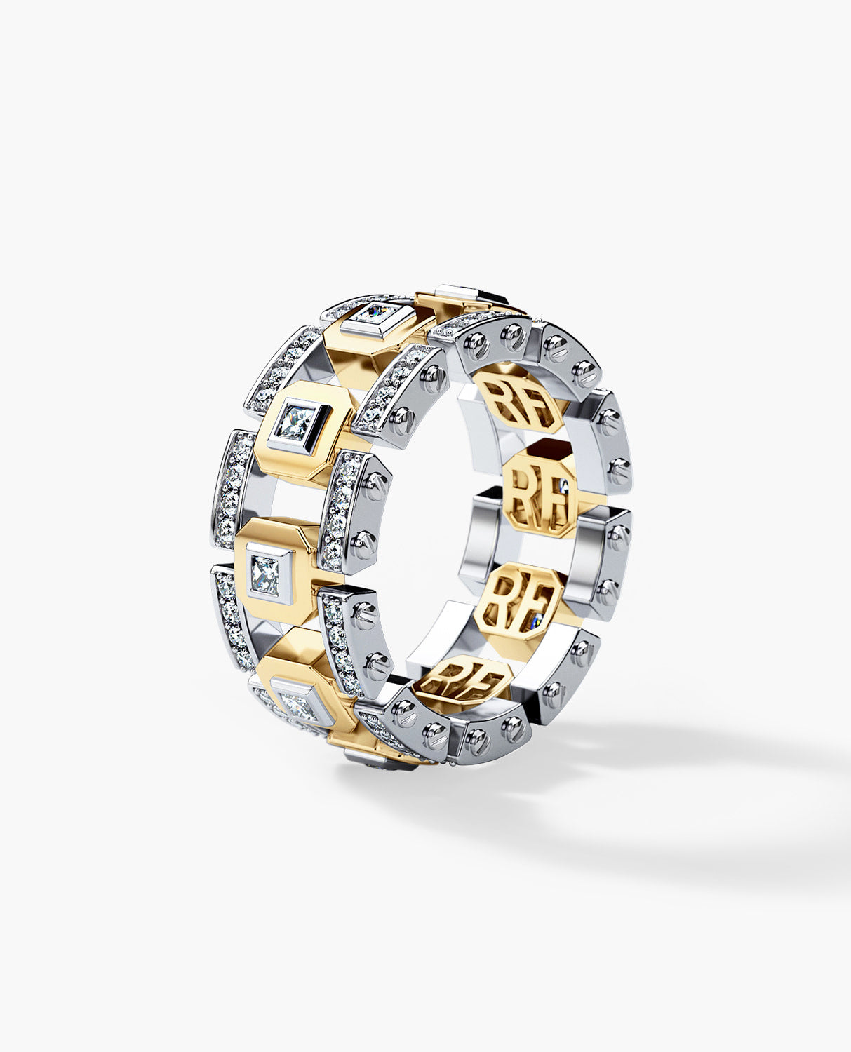 It is just a graphic of LA PAZ Mens Two-Tone Gold Wedding Band with 40.40ct Diamonds
