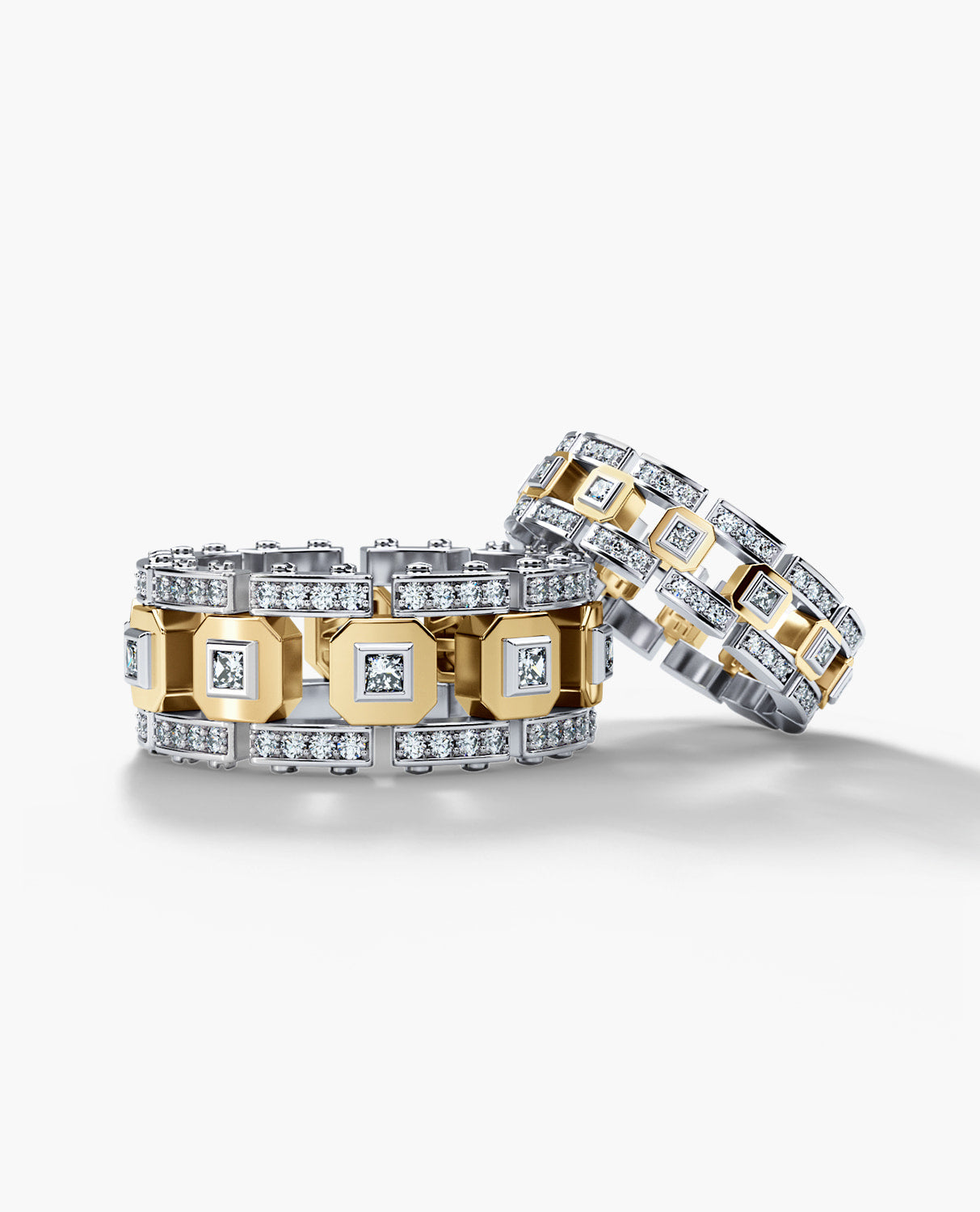 LA PAZ Two-Tone Gold Matching Diamond Wedding Band Set