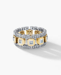 Unique Mens Wedding Band with Diamonds