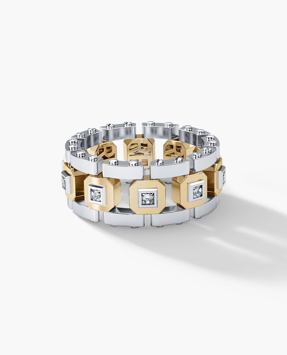 LA PAZ Mens Two-Tone Gold Wedding Band with Princess Cut Diamonds