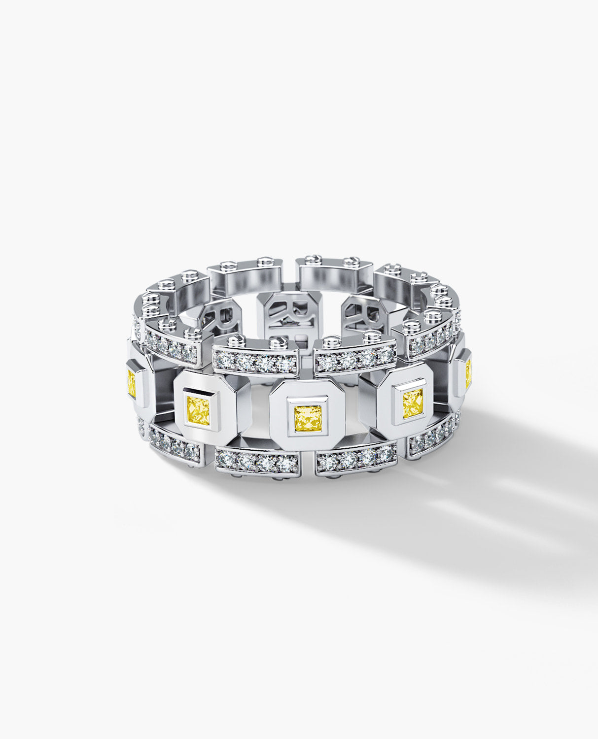 LA PAZ Mens Gold Wedding Band with 1.20ct Yellow and White Diamonds